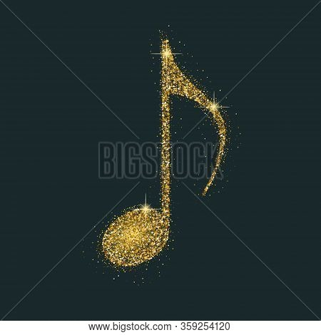 Luxury Shiny Goldennote On Transparent Black. Symbol For Banner Of Festival, Print Design, Melody Re