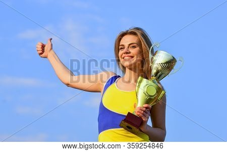 Congratulations On Success. Winner In Competition. Sport And Health. Adorable Cup Winner. Sport And