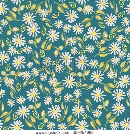 Daisy Flowers On A Teal Background Seamless Vector Pattern. Girly Nature Themed Surface Print Design
