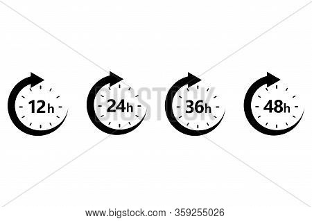 12, 24, 36 And 48 Hours Clock Arrow. Work Time Effect Or Delivery Service Time. Vector