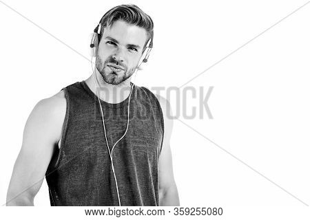 Listen Music For Motivation And Inspiration. Audio Quality. Modern Earphones Concept. Audio Track. M
