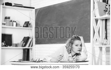Tired Tutor Fall Asleep At Workplace. Tired Student Lean On Desk. Woman Tired In School Classroom. S