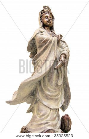 Kuan Yin Goddess of Compassion Bronze Statue Isolated on White Background poster