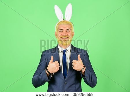 Thumbs Ups For Easter. Happy Boss Enjoy Celebration. Businessman Show Thumbs Ups Hands. Happy Holida