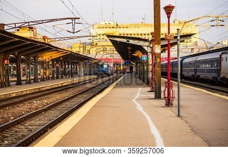 Changes And Complications Caused By Coronavirus Covid-19 Virus, World Without Crowds, Empty Train Pl