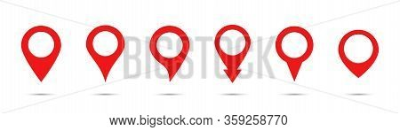 Pointer Map. Vector Isolated Collection Of Map Pointers. Gps Location Symbol. Red Location Pin,map P