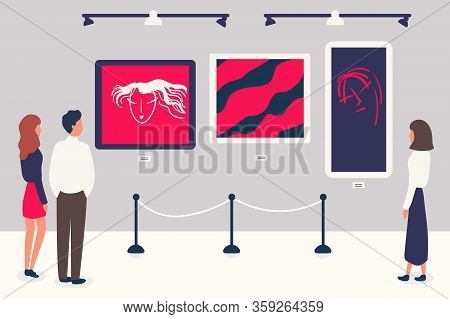 Man, Woman In Contemporary Art Gallery Vector Illustration. Abstract Paintings.museum Exposition. Dr