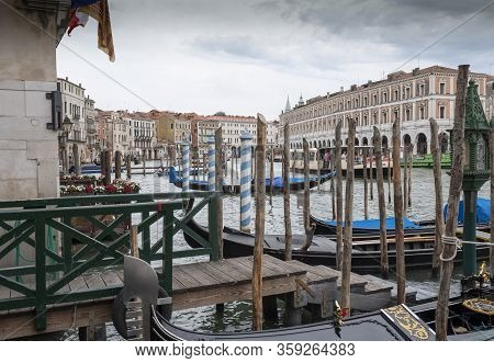 Venice, Italy - June 30, 2017: A View Of The Colorful Venetian Houses Over Water In Venice, Italy.