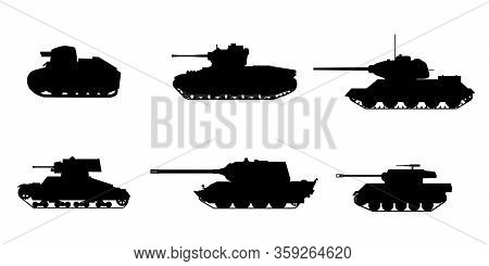 Set Silhouette Tank American German Britain Soviet French World War 2 Icons. Military Army Machine W