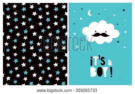 Cute Baby Boy Party Vector Art. Funny White Cloud With Black Moustache Isolated On A Blue Background