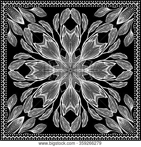 Bandana Clipart Black And White. Bandana Silk Scarf Pattern. Headband Clipart Print, Vector Floral I