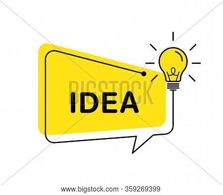 Idea Vector Banner Light Bulb And Speech Bubble. Vector Isolated Illustration. Idea Concept Illustra