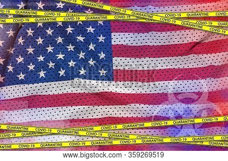 United States Of America Flag And Covid-19 Quarantine Yellow Tape. Coronavirus Or 2019-ncov Virus Co