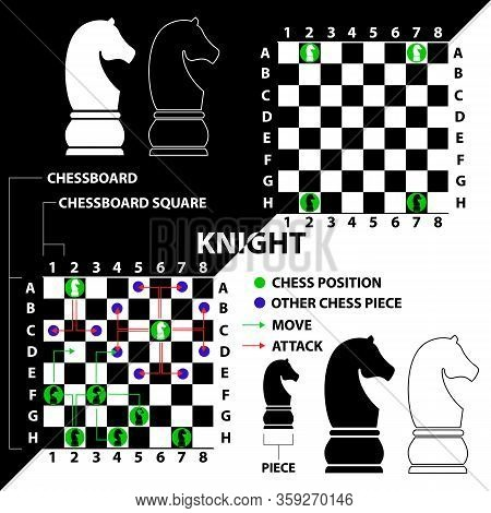 Knight. Chess Piece Made In The Form Of Illustrations And Icons. Black And White Knight With A Descr