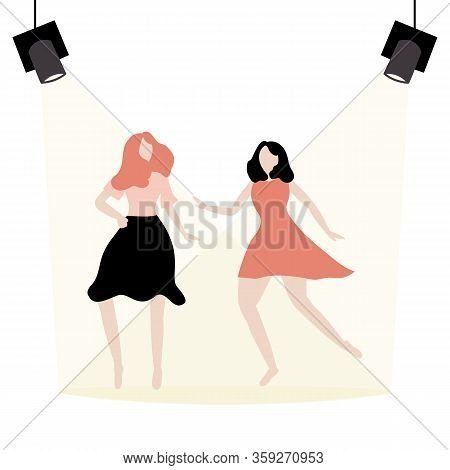 Dancing People In Flat Style. Two Women Dance In The Spotlight Young And Dance, Dancer Pose Set, Fas