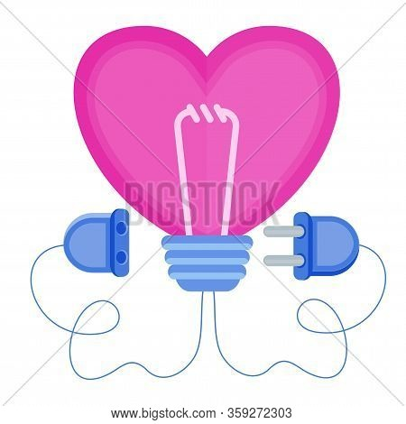 Love Energy. Heart With Power Plug And Socket. Heart Shaped Lamp. Metaphor Of Passion, Hot Feelings.