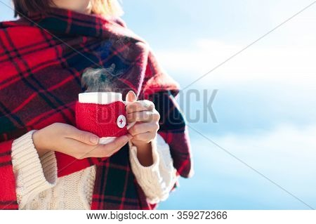 Woman Drinking Coffee At Sea Beach. Winter Picnic. Girl In Red Plaid Enjoying Calm Nature, Morning B