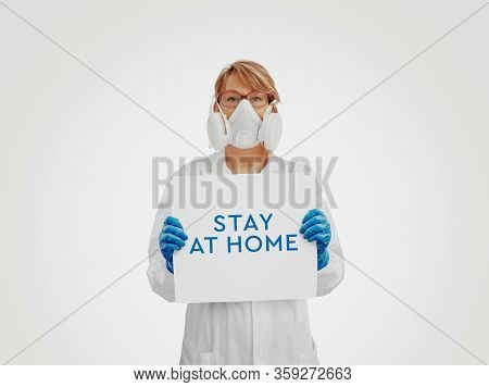 Medical Doctor Or Scientist Suggesting To Stay At Home To Avoid Corona Virus Pandemic, Campaign Coro