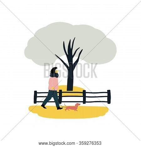 Woman Walks Alone With Dachshund Dog At Park Flat Vector Illustration On White Background Person Wea