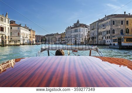Boat On Grand Canal, Venice, Italy, Europe