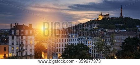 View Of Lyon At Sunset, France, Europe