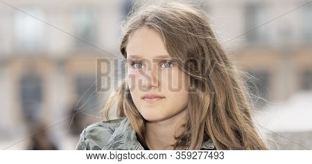 Portrait Of Beautiful Girl Outdoor, France, Europe