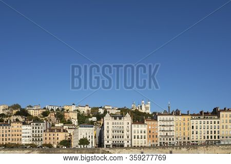 View Of Lyon City With Big Blue Sky, France, Europe