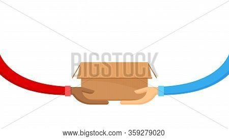 Box Carton And Hand For Donate Giving And Receive Concept, Donate Box Cardboard Open On Hand For Giv