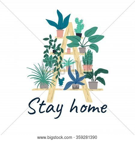 Stay Home. Shelving With Indoor Plants On The Balcony Or In The Apartment. Cartoon Flat Hand Drawn I