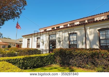 Pacific Grove, California - March 15 2019: Exterior Façade Of The United States Post Office Building