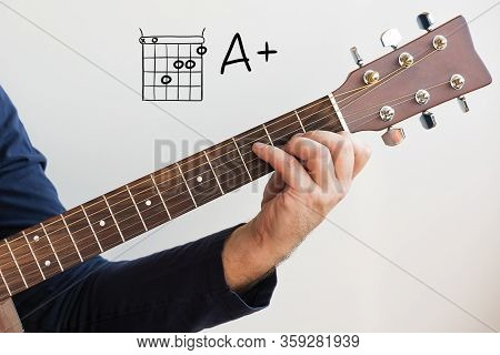 Learn Guitar - Man In A Dark Blue Shirt Playing Guitar Chords Displayed On Whiteboard, Chord A+ (a P