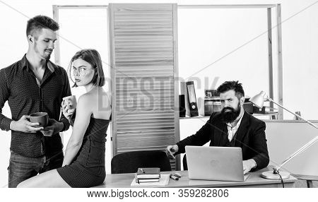 Woman Flirting With Coworker. Woman Attractive Working Man Colleague. Office Romance Concept. Sexual