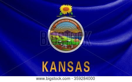 Realistic Flag State Of Kansas On The Wavy Surface Of Fabric