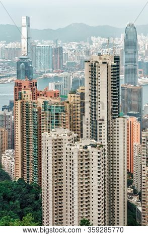 Hong Kong, China - January 12, 2016: Victoria Harbour Urban Scenic Panoramic Vertical Landscape With