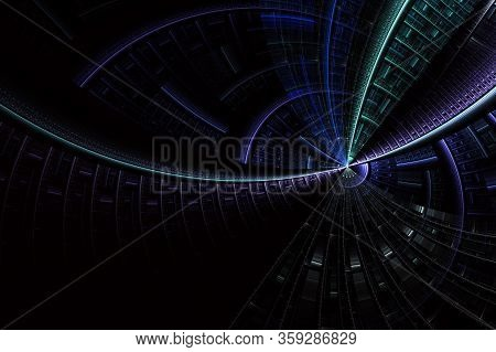 Abstract Fractal Background For Creative Design. Futuristic Background With Optical Illusion. Scienc