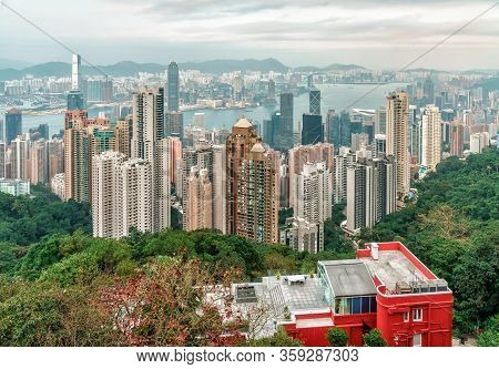 Hong Kong, China - January 12, 2016: Victoria Harbour Urban Scenic Panoramic Landscape With Skyscrap