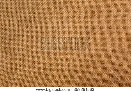 Rough Textured Natural Burlap In Light Brown Color, Background