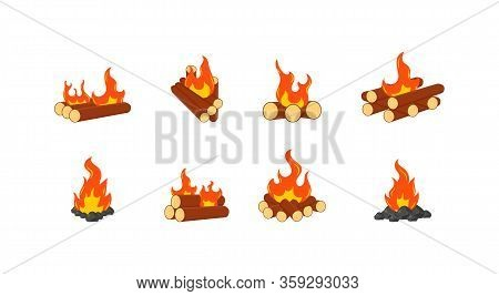 Collection Of Burning Bonfires Or Campfires Isolated On White Background. Animation Set Of Flame On