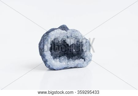 Blue Quartz Druse Or Geode Mineral Stone. Close Up Photo Mineralogy And Esotericism.