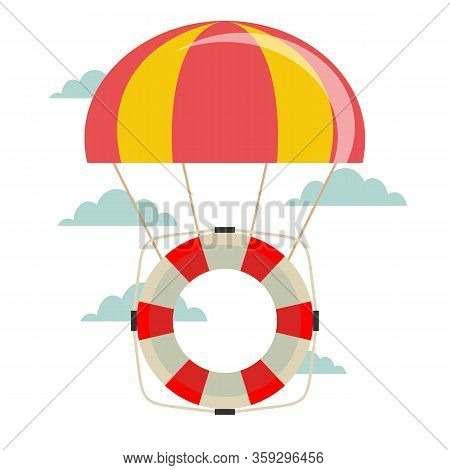 Life Buoy With Parachute In The Sky. Vector Flat Design Illustration.
