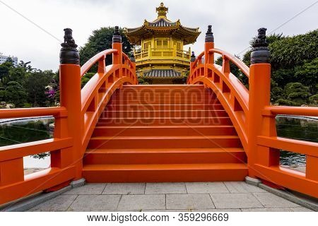 Hong Kong - January 2020 : Pavilion Of Absolute Perfection, An Octagonal Pavilion In Nan Lian Garden