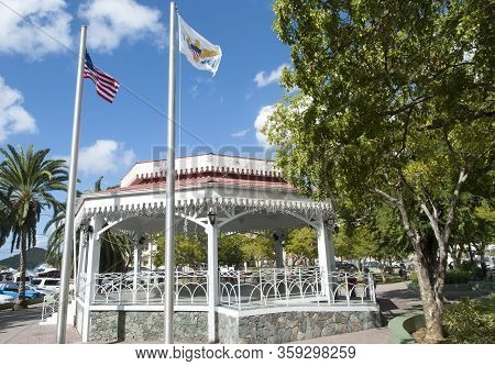 Charlotte Amalie Town Emancipation Park With Wooden Gazebo Was Built To Commemorate The Abolition Of
