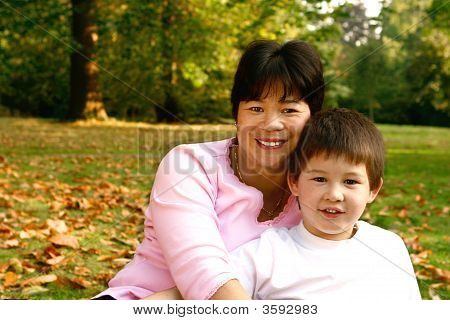 Beautiful Thai Mother With Her Young Son