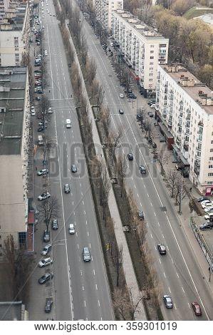 Kyiv, Ukraine - Apr. 01, 2020: Aerial View Of Lesia Ukrainka Boulevard In Kyiv, Ukraine. Beautiful L