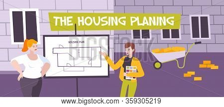 Housing Plan Flat Composition With Outdoor Scenery And People Designing Apartment Planning Near Newl