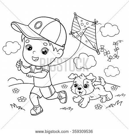 Coloring Page Outline Of cartoon boy running with a kite with dog. Coloring book for kids