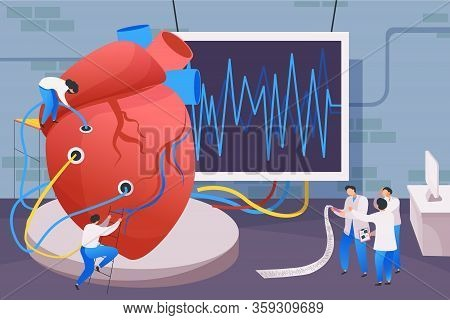 Medical Center Flat Composition With Human Heart Connected To Cardiograph Screen With Wires And Doct