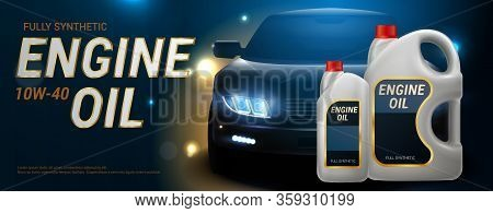 Engine Oil Advertising Realistic Banner Plastic Canister For Motor Oil On Dark Road Background With