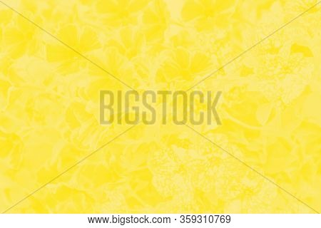 Vivid Yellow Patchy Floral Background, Flowers Pattern
