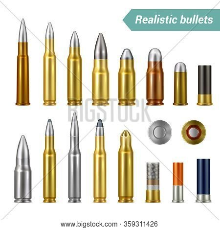 Different Types And Sizes Of Weapon Ammo   Including Bullets And Cartridges Realistic Set Isolated V